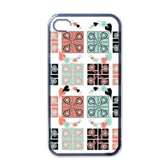 Mint Black Coral Heart Paisley Apple Iphone 4 Case (black)