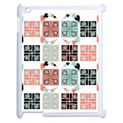 Mint Black Coral Heart Paisley Apple iPad 2 Case (White)