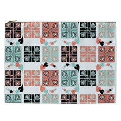 Mint Black Coral Heart Paisley Cosmetic Bag (XXL)