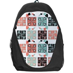 Mint Black Coral Heart Paisley Backpack Bag