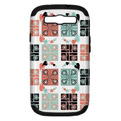Mint Black Coral Heart Paisley Samsung Galaxy S III Hardshell Case (PC+Silicone)