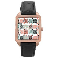 Mint Black Coral Heart Paisley Rose Gold Leather Watch