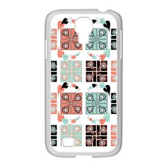 Mint Black Coral Heart Paisley Samsung GALAXY S4 I9500/ I9505 Case (White)