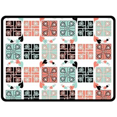 Mint Black Coral Heart Paisley Double Sided Fleece Blanket (Large)