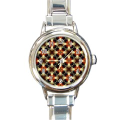 Kaleidoscope Image Background Round Italian Charm Watch