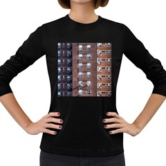 New York Building Windows Manhattan Women s Long Sleeve Dark T-Shirts