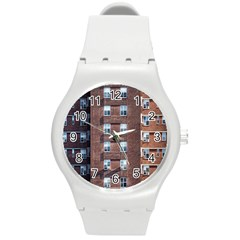 New York Building Windows Manhattan Round Plastic Sport Watch (M)