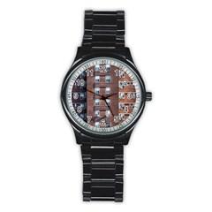 New York Building Windows Manhattan Stainless Steel Round Watch