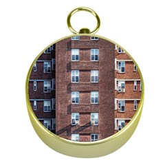 New York Building Windows Manhattan Gold Compasses