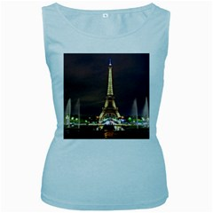 Paris Eiffel Tower Women s Baby Blue Tank Top