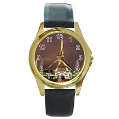Paris Eiffel Tower Round Gold Metal Watch