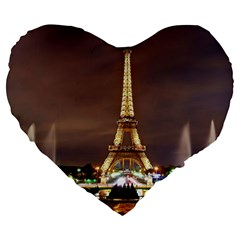 Paris Eiffel Tower Large 19  Premium Heart Shape Cushions