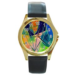 New Form Technology Round Gold Metal Watch