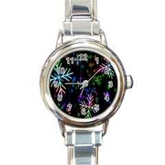 Nowflakes Snow Winter Christmas Round Italian Charm Watch
