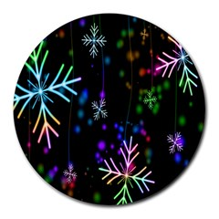 Nowflakes Snow Winter Christmas Round Mousepads