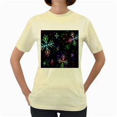 Nowflakes Snow Winter Christmas Women s Yellow T-Shirt