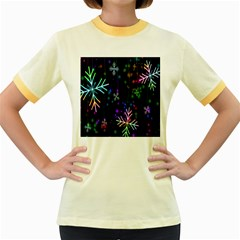 Nowflakes Snow Winter Christmas Women s Fitted Ringer T-Shirts