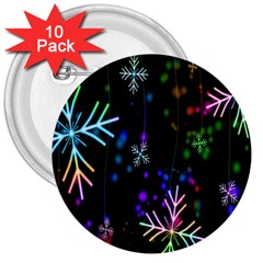 Nowflakes Snow Winter Christmas 3  Buttons (10 pack)