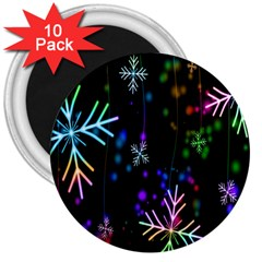 Nowflakes Snow Winter Christmas 3  Magnets (10 pack)