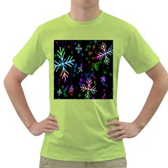 Nowflakes Snow Winter Christmas Green T-Shirt