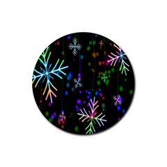 Nowflakes Snow Winter Christmas Rubber Round Coaster (4 pack)