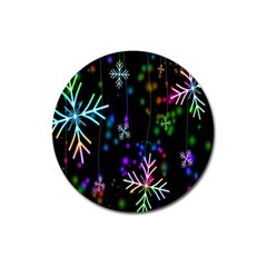 Nowflakes Snow Winter Christmas Magnet 3  (Round)