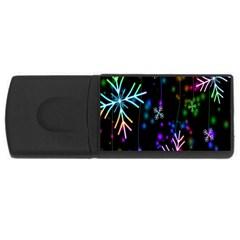 Nowflakes Snow Winter Christmas USB Flash Drive Rectangular (1 GB)