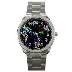 Nowflakes Snow Winter Christmas Sport Metal Watch