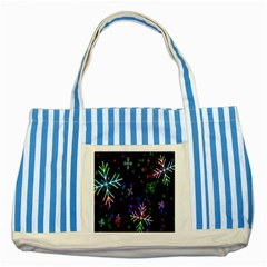 Nowflakes Snow Winter Christmas Striped Blue Tote Bag