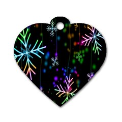 Nowflakes Snow Winter Christmas Dog Tag Heart (Two Sides)