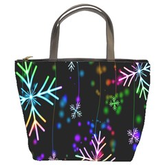 Nowflakes Snow Winter Christmas Bucket Bags
