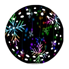Nowflakes Snow Winter Christmas Round Filigree Ornament (Two Sides)