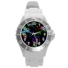 Nowflakes Snow Winter Christmas Round Plastic Sport Watch (l)