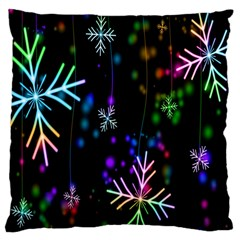 Nowflakes Snow Winter Christmas Large Cushion Case (Two Sides)