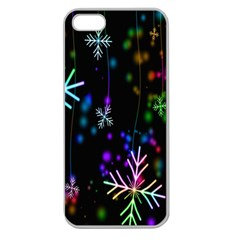 Nowflakes Snow Winter Christmas Apple Seamless Iphone 5 Case (clear)