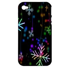 Nowflakes Snow Winter Christmas Apple Iphone 4/4s Hardshell Case (pc+silicone)