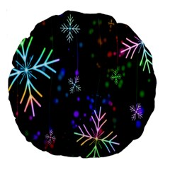 Nowflakes Snow Winter Christmas Large 18  Premium Round Cushions