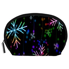 Nowflakes Snow Winter Christmas Accessory Pouches (Large)
