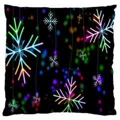 Nowflakes Snow Winter Christmas Large Flano Cushion Case (One Side)
