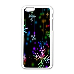 Nowflakes Snow Winter Christmas Apple iPhone 6/6S White Enamel Case