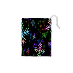 Nowflakes Snow Winter Christmas Drawstring Pouches (XS)