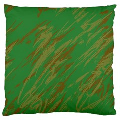 Brown green texture                                                  Large Flano Cushion Case (Two Sides)