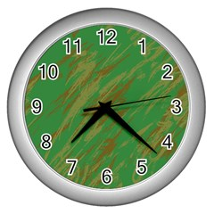 Brown green texture                                                  			Wall Clock (Silver)