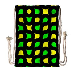 Yellow green shapes                                                     Large Drawstring Bag