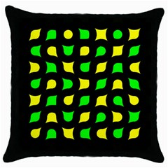 Yellow green shapes                                                     Throw Pillow Case (Black)