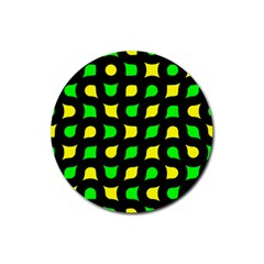 Yellow green shapes                                                     Rubber Round Coaster (4 pack)