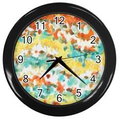Retro watercolors                                                      Wall Clock (Black)