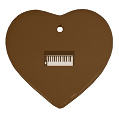 Keyboard Brown Heart Ornament (Two Sides)