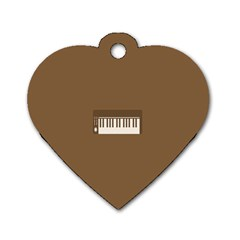 Keyboard Brown Dog Tag Heart (One Side)