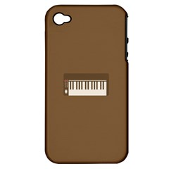 Keyboard Brown Apple iPhone 4/4S Hardshell Case (PC+Silicone)